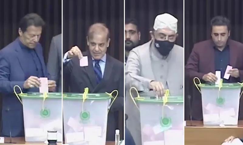 قومی اسمبلی میں وزیراعظم عمران خان، شہباز شریف، آصف زرداری اور بلاول بھٹو نے ووٹ کاسٹ کیا—تصاویر: ڈان نیوز