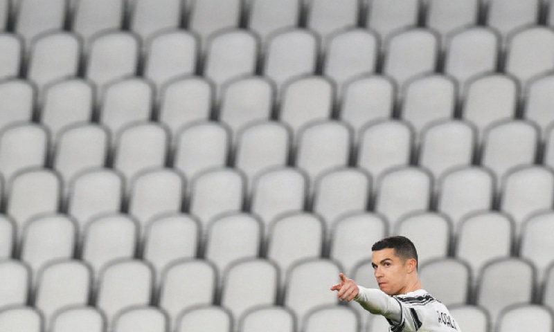 TURIN: Juventus' Cristiano Ronaldo celebrates after scoring during the Serie A match against Spezia at the Juventus Stadium.—AFP