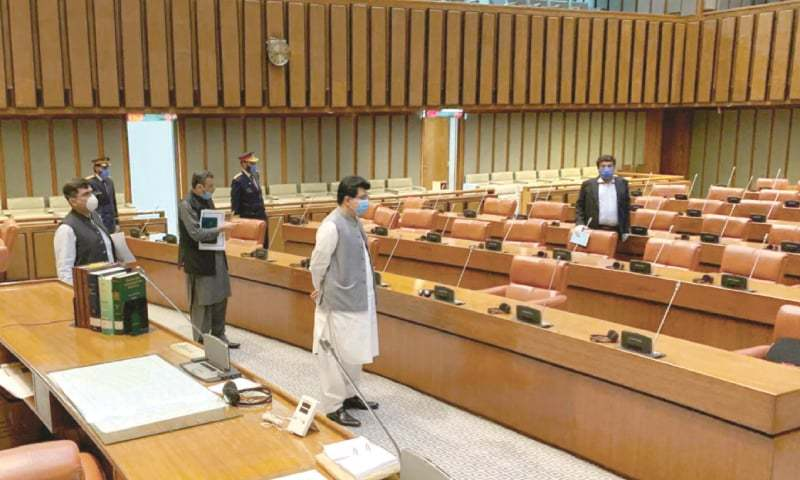 In this file photo, Senate Chairman Sadiq Sanjrani visits the hall of the house. — White Star