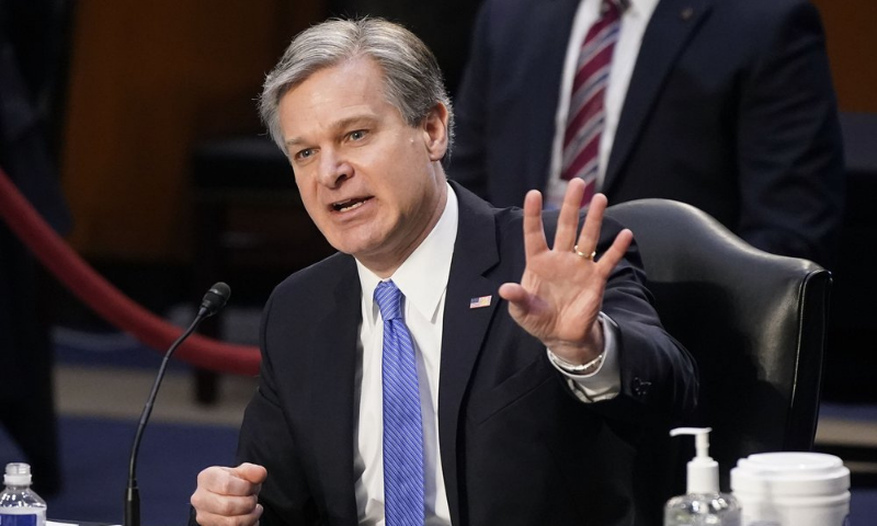 FBI Director Christopher Wray testifies before the Senate Judiciary Committee on Capitol Hill in Washington on Tuesday. — AP