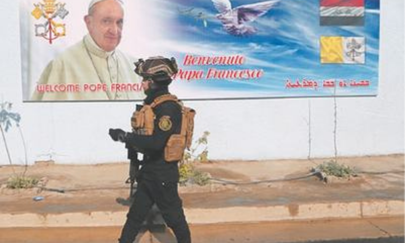 BAGHDAD: A member of the Iraqi armed forces guards St. Joseph Chaldean Church during preparations for Pope Francis's coming trip to Iraq. — AP