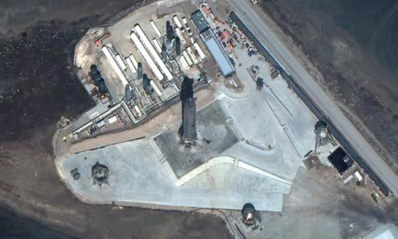 Maxar's WorldView-3 satellite shows close up of SpaceX Starship SN10 launch facilities at Boca Chica, Texas, US, March 3. — Reuters