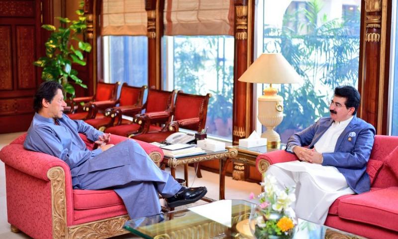 In this file photo, Prime Minister Imran Khan meets Senate Chairman Sadiq Sanjrani. — Photo courtesy Radio Pakistan