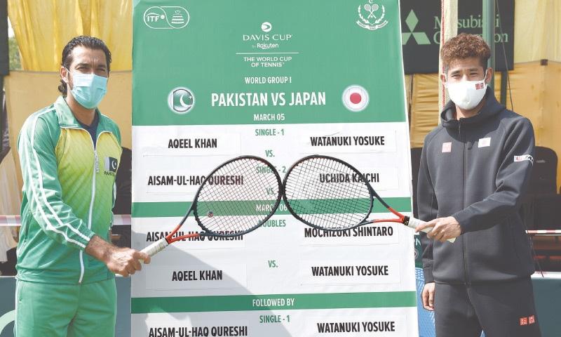 ISLAMABAD: Pakistan's Aisam-ul-Haq (L) and Japan's Uchida Kaichi pose on the eve of the Davis Cup tie.—Tanveer Shahzad/White Star