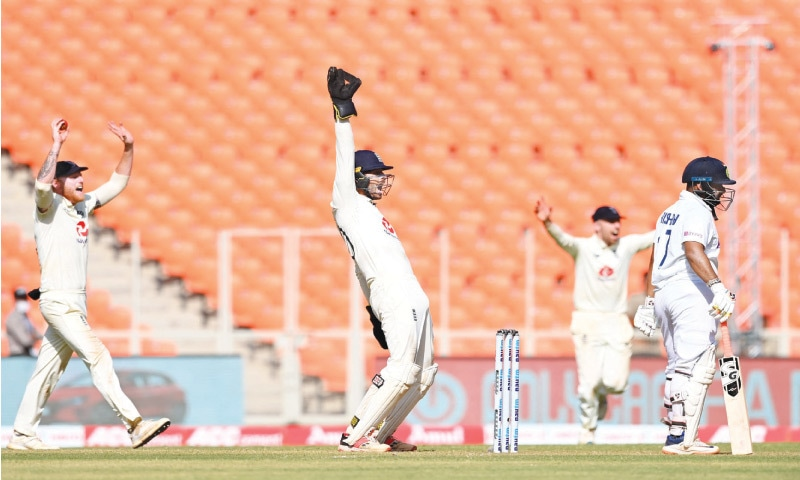 ENGLAND players make an unsuccessful appeal against Indian batsman Rishabh Pant during the fourth Test at the Narendra Modi Stadium on Friday.—AFP