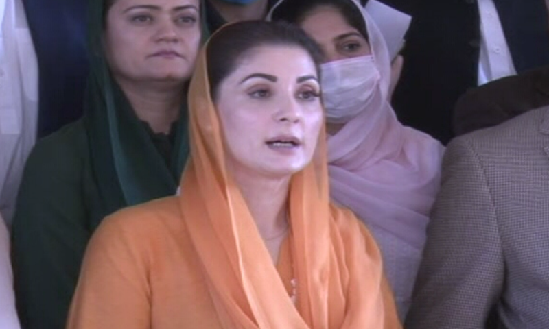 PML-N Vice President Maryam Nawaz speaks to reporters in Islamabad on Friday. — DawnNewsTV