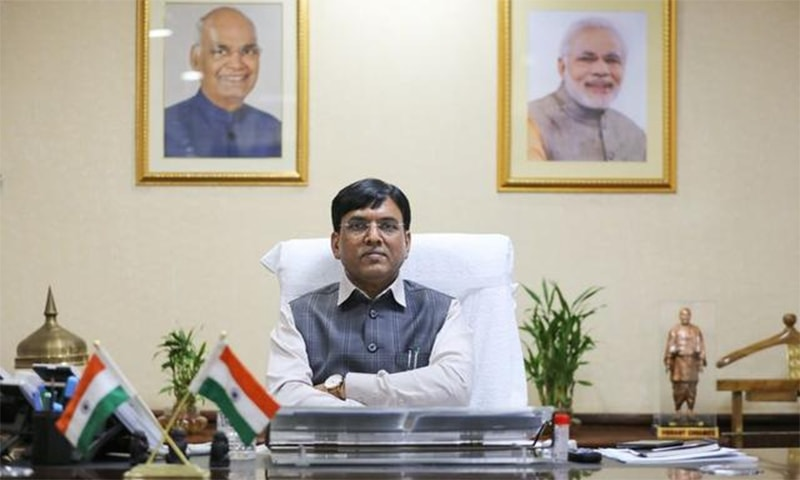 Indian Shipping Minister Mansukh Mandaviya poses for a picture after his interview with Reuters, at his office, in New Delhi, India, March 4, 2021. — Reuters
