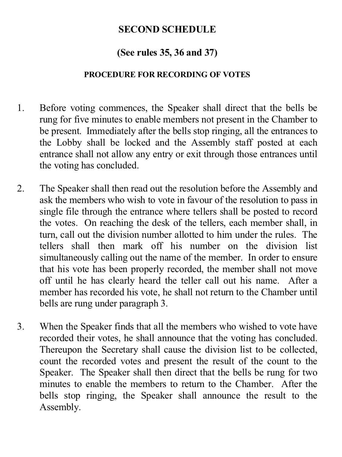 Voting procedure read out by the NA speaker