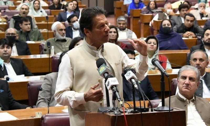 Prime Minister Imran Khan addressing the National Assembly after securing a trust vote during a special session. — DawnNewsTV