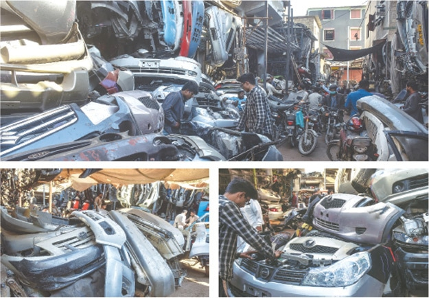 KARACHI: A picture combo shows a large variety of used imported auto parts and accessories on display at the Shershah Market. One of the largest scrapyards in the country, the market meets the requirement of automobile owners seeking replacement of parts. —Fahim Siddiqi/White Star