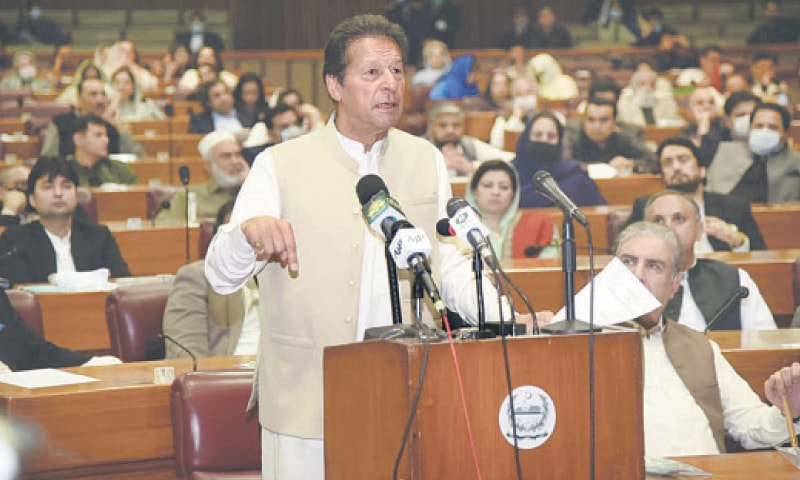 ISLAMABAD: Prime Minister Imran Khan addresses the National Assembly after obtaining a vote of confidence on Saturday.—White Star