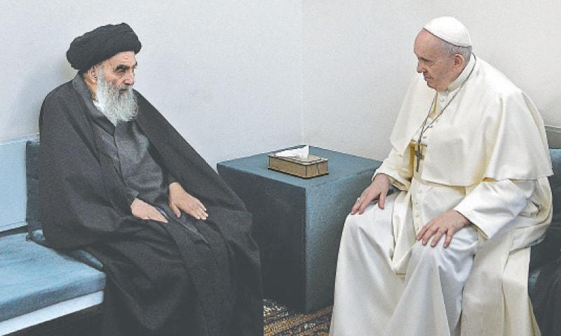 Pope Francis meeting top Shia cleric Grand Ayatollah Ali al-Sistani in the Iraqi shine city of Najaf on Saturday. — AFP