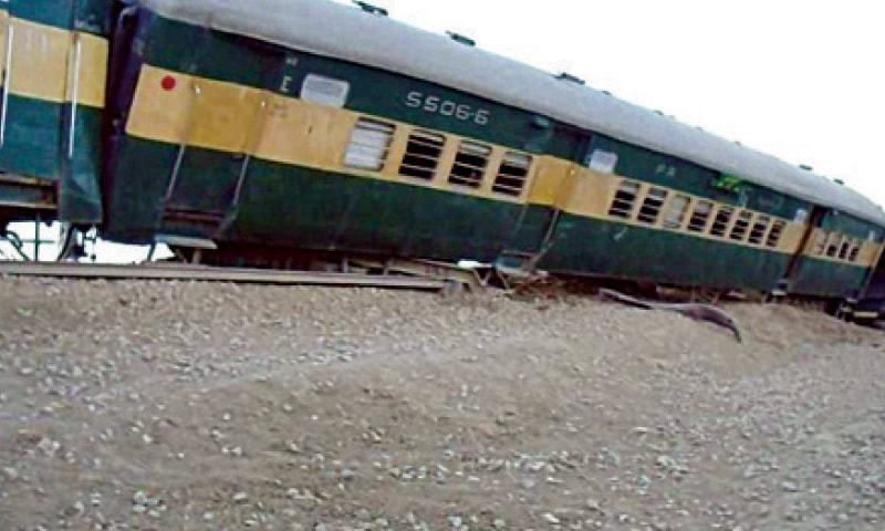 At least 14 passengers were injured, three of them critically, when nine coaches of the Lahore-bound Karachi Express derailed between Mando Dero and Sanghi railway stations late on Saturday night. — Dawn/File