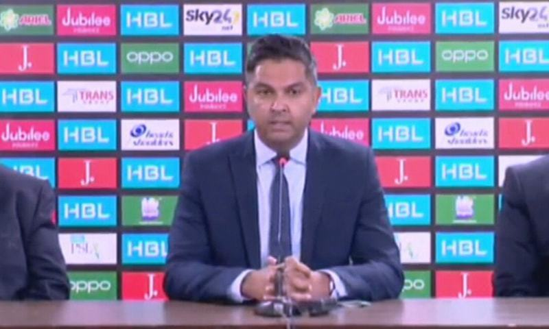 PCB Chief Executive Wasim Khan addresses a press conference in Karachi after the PSL VI was cancelled. — DawnNewsTV/File