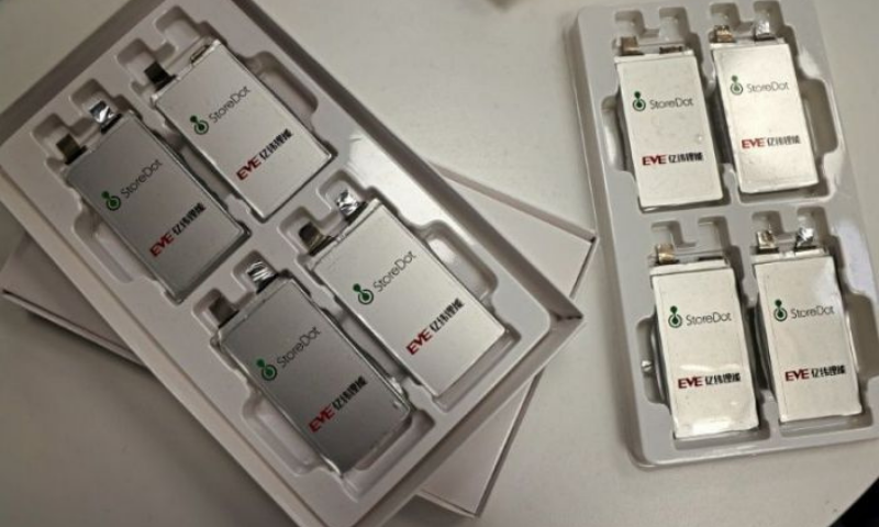 Samples of fast-charging batteries on display at the Israeli start-up StoreDot headquarters. — AFP