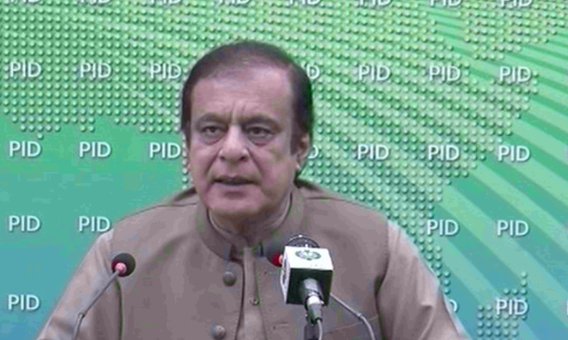 Federal Minister for Information and Broadcasting Shibli Faraz addresses a press conference in Islamabad. — DawnNewsTV