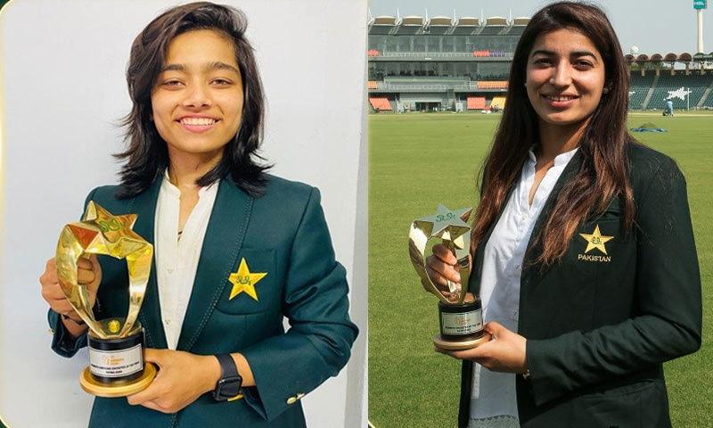 پی سی بی کے چیف ایگزیکٹیو وسیم خان اور بورڈ آف گورنرز کی پہلی خاتون رکن نے دونوں کھلاڑیوں کو ٹرافی پیش کی۔فوٹو: پی سی ٹوئٹر