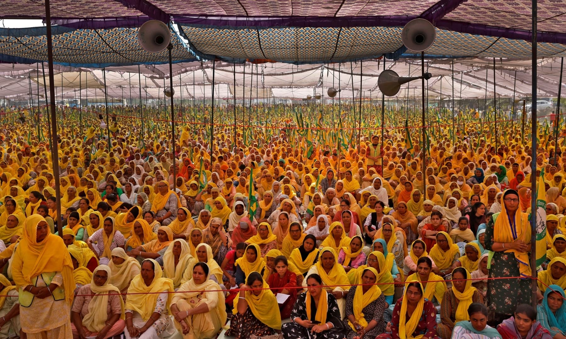 Women farmers attend a protest against farm laws on the occasion of International Women's Day at Bahadurgar near Haryana-Delhi border, India, March 8. — Reuters