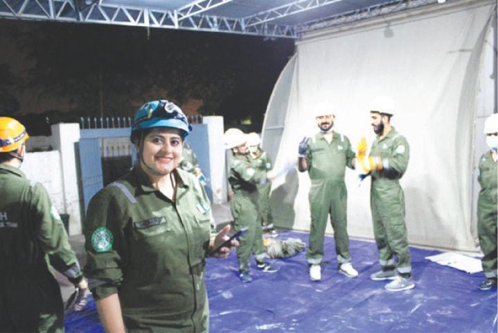 RESCUER Munira Barkat in a training session.