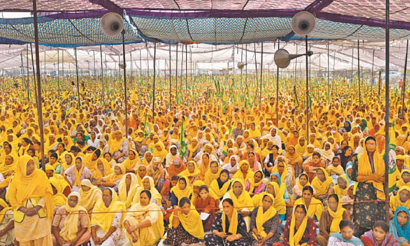 WOMEN farmers attend a rally against farm laws on the occasion of International Women's Day at Bahadurgarh,  near the Haryana-Delhi border, on Monday.—Reuters