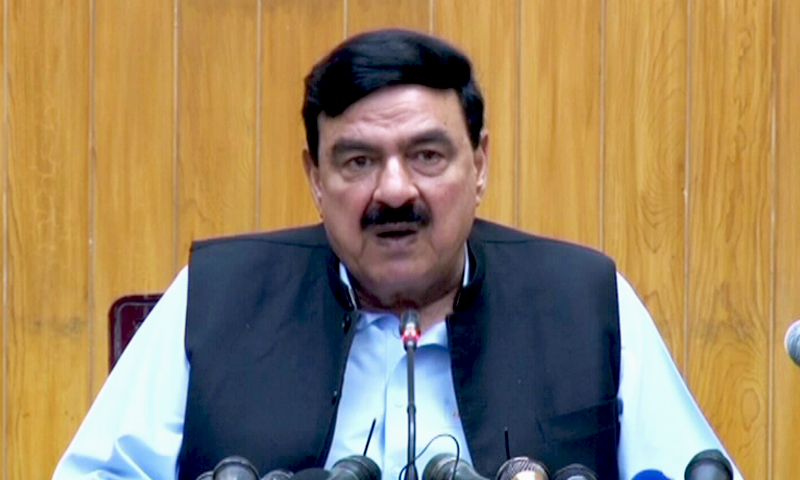Interior Minister Sheikh Rashid Ahmed on Monday condemned manhandling of PML-N leaders by PTI supporters outside the Parliament House on Saturday. — DawnNewsTV/File