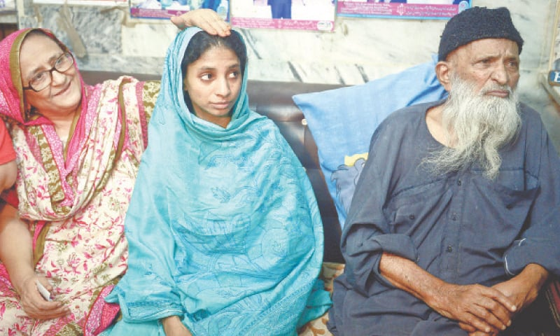 Geeta seen with Mr and Mrs Edhi in this file photo.—Fahim Siddiqi/White Star