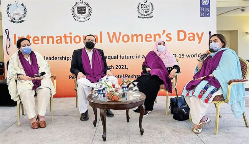 MPA Dr Sumera Shams addresses a function held in Peshawar on Tuesday in connection with the International Women's Day. — White Star