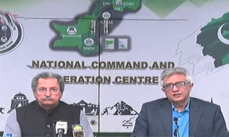 Education Minister Shafqat Mahmood and Special Assistant to the Prime Minister on Health Dr Faisal Sultan address a press conference on Wednesday. — DawnNewsTV