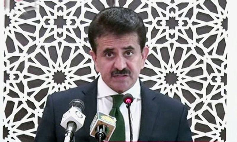 FO spokesperson Zahid Hafeez Chaudhri addresses a press conference. — DawnNewsTV/File