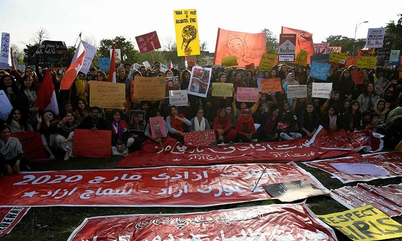 Activists of the Aurat March hold placards during a rally to mark International Women's Day in Islamabad on March 8, 2020. — AFP/File