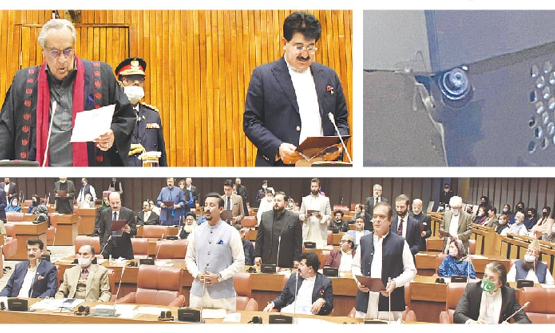 (Clockwise) Senator Syed Muzaffar Hussain Shah, who was presiding officer for the election of the Senate chairman, administering the oath of office to the newly elected chairman Mohammad Sadiq Sanjrani at the Parliament House on Friday. One of the spy cameras that were found installed in and outside the polling booth. Newly-elected senators taking oath in the Senate hall.—White Star