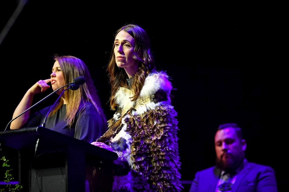 New Zealand's Prime Minister Jacinda Ardern speaks at a National Remembrance Service in Christchurch on March 13. — AP