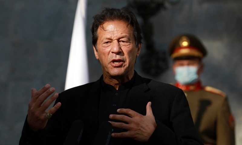 Prime Minister Imran Khan  speaking at a press conference. – AP/File Photo