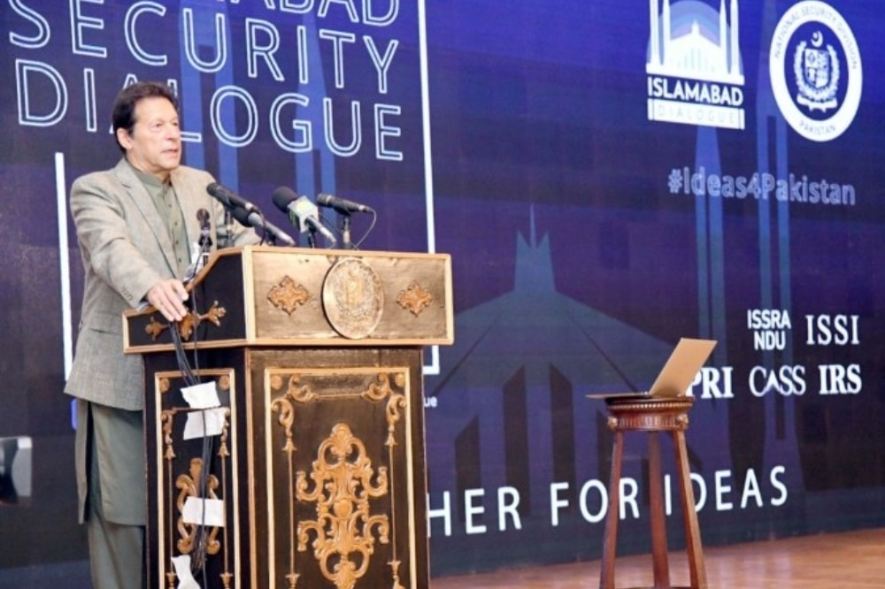 Prime Minister Imran Khan addresses the first ever session of the Islamabad Security Dialogue. — APP