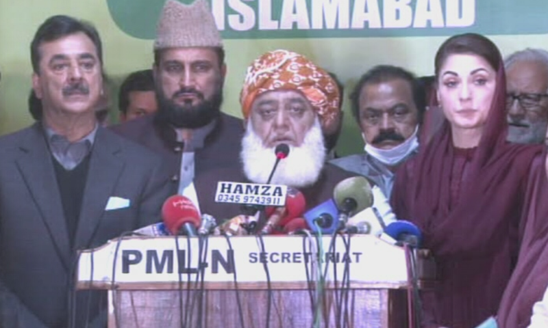 PDM leaders address a press conference after their meeting in Islamabad on Tuesday. — DawnNewsTV/File