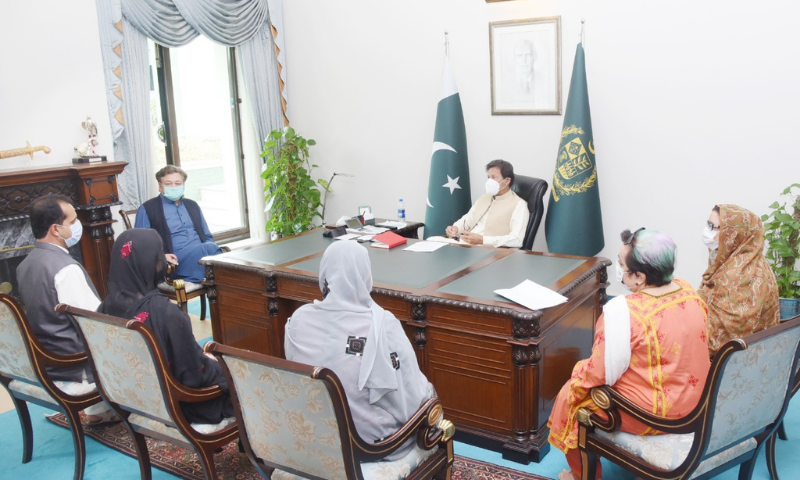 Prime Minister Imran Khan meets relatives of missing persons in Islamabad on Thursday. — Photo courtesy Shireen Mazari Twitter