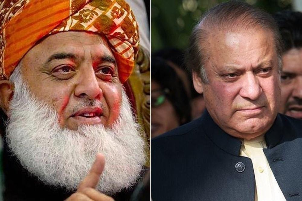 This combo photo shows former prime minister Nawaz Sharif (right) and JUI-F chief Maulana Fazlur Rehman. — AFP/File
