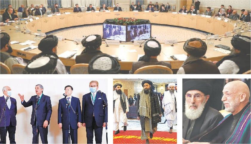 (Clockwise) Officials attend the Afghan peace conference in Moscow on Thursday. Former Afghan president Hamid Karzai (right) attends the conference. Taliban co-founder Mullah Abdul Ghani Baradar (centre) arrives with other members of the Taliban delegation at the conference. (From left) US Special Representative Zalmay Khalilzad, Russia's Special Representative Zamir Kabulov, China's Ambassador Wang Yu and Pakistan's Special Envoy Mohammad Sadiq hold a press briefing after the conference.—Reuters / AFP / AP