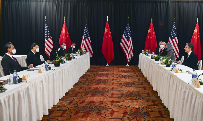 US Secretary of State Antony Blinken (2nd R), joined by National Security Advisor Jake Sullivan (R), speaks while facing Yang Jiechi (2nd L), director of the Central Foreign Affairs Commission Office, and Wang Yi (L), China's State Councilor and Foreign Minister, at the opening session of US-China talks at the Captain Cook Hotel in Anchorage, Alaska, US, March 18. — Reuters