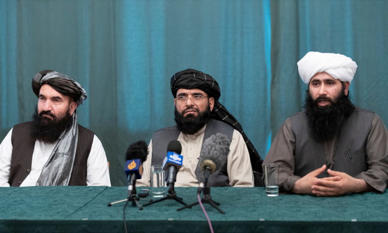 Members of the Taliban delegation from the left: Khairullah Khairkhwa, former western Herat Governor and one of five Taliban released from the US prison on Guantanamo Bay in exchange for US soldier Bowe Bergdahl, Suhail Shaheen, member of negotiation team, Mohammad Naeem, spokesman for the Taliban's political office attend their joint news conference in Moscow, Russia on March 19, 2021. — AP