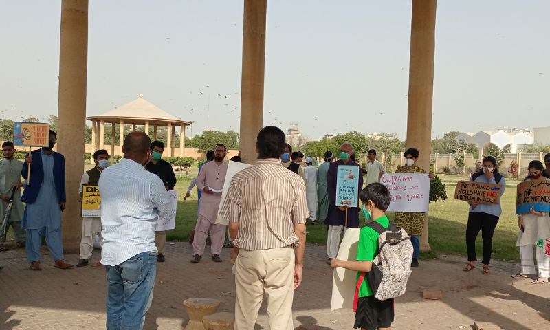 The Climate activists on climate strike gathered in Bagh-i-Jinnah. — Photo provided by author