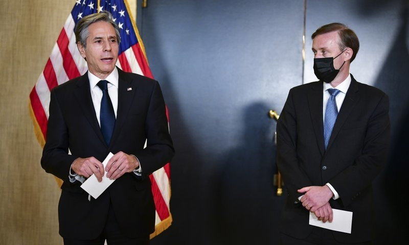 US Secretary of State Antony Blinken, accompanied by National Security Adviser Jake Sullivan, right, talks to the media after a closed-door morning session of US-China talks in Anchorage, Alaska, US, March 19. — AP