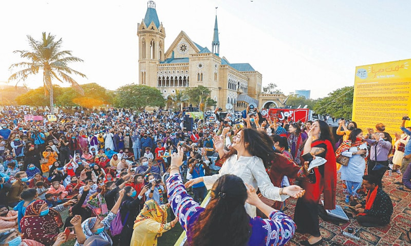 Protesters at Karachi's Frere Hall during Aurat March 2021 | Reuters
