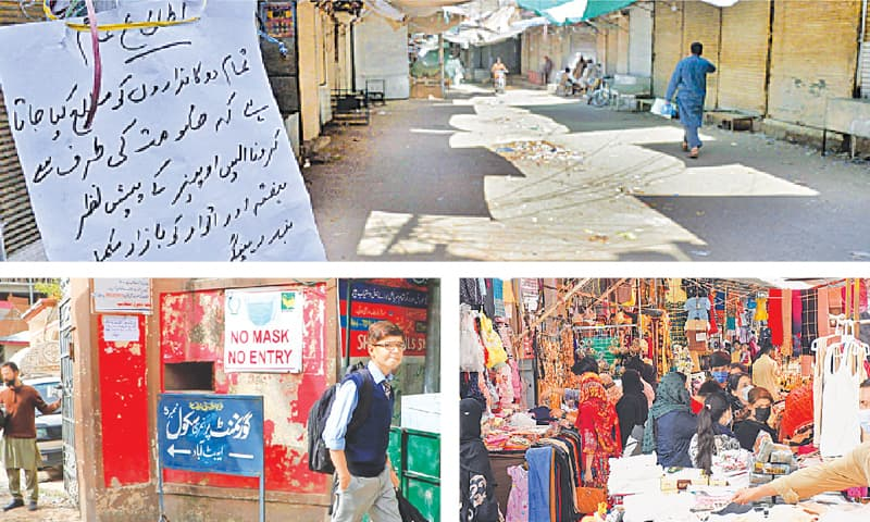 (Clockwise) Shops in a wholesale market of Peshawar are seen closed on Saturday as part of the standard operating procedures to halt spread of the coronavirus. Customers gather in front of shops at Karachi Company Market in Islamabad in violation of smart lockdown. A student leaves his school in Abbottabad after four students and teachers tested positive for coronavirus forcing the district administration to close down the institution until April 7. — Shahbaz Butt / White Star / Online