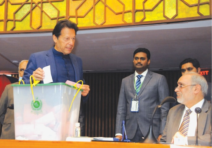 Prime Minister Imran Khan casting his vote in the Senate chairman election   White Star