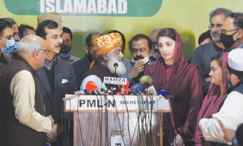 Maulana Fazlur Rehman leaves without taking questions after the PDM's meeting on March 16   Tanveer Shahzad/White Star
