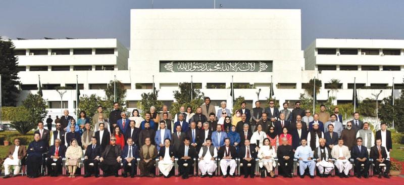 Chairman Sadiq Sanjrani in a group photo with the outgoing Senate   White Star