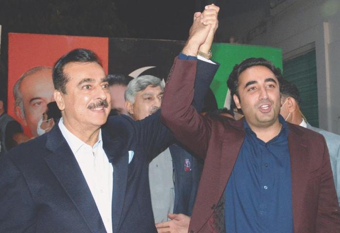 Bilawal Bhutto Zardari hand in hand with newly elected Senator Yousuf Raza Gilani   Tanveer Shahzad /White Star