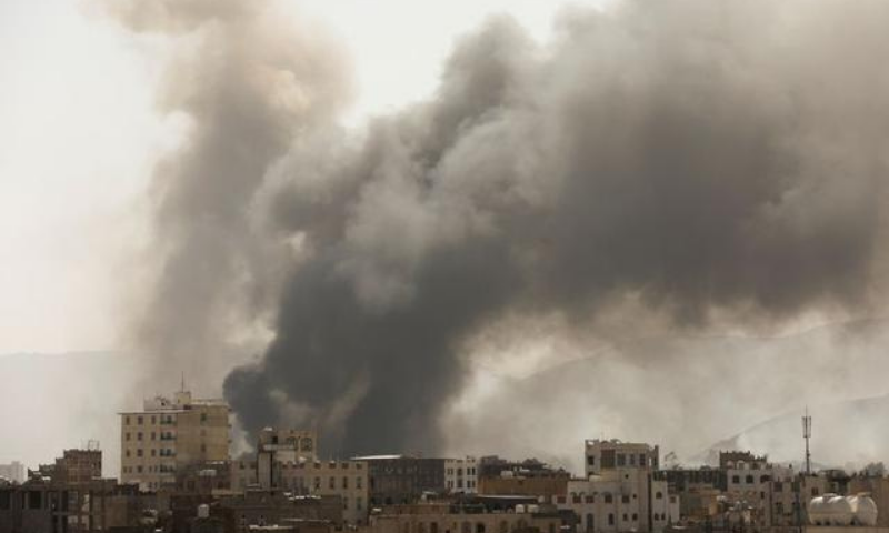 Smoke billows from the site of Saudi-led air strikes in Sanaa, Yemen. — Reuters/File