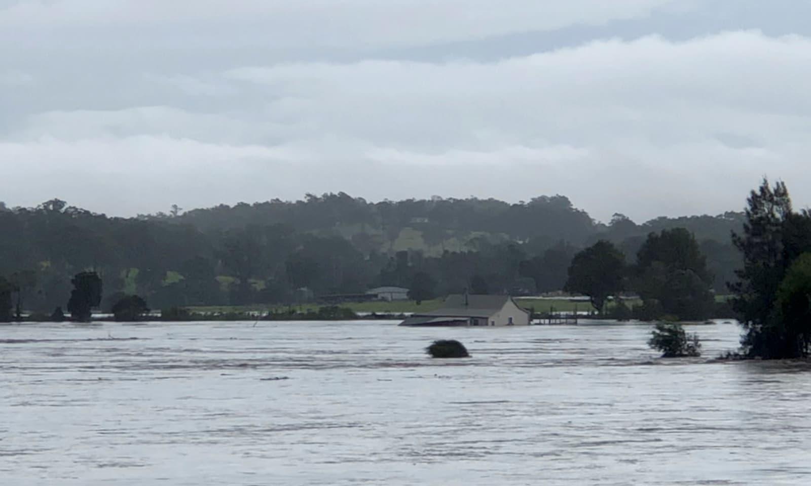 سیلاب کے بعد نیو ساؤتھ ویلز کے دریائے میننگ میں ایک گھر تیر رہا ہے — فوٹو: رائٹرز